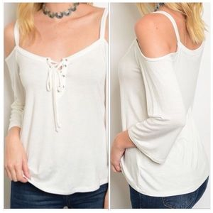 Cold Shoulder Long Sleeve Lace-Up Top